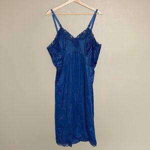 Vintage blue lacy slip dress size large